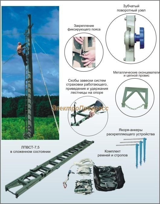 Лестница изолирующая приставная вертикальная стеклопластиковая ЛПВСТ-7,5