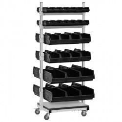 СКМ ESD RAL 7035 (7012) Двухсторонняя подкатная стойка для комплектующих СКМ. Антистатическое. Светло-серый (темный-серый)