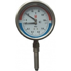 Термоманометр коррозийностойкий тип ТМТБ-К исполнение из нерж.стали