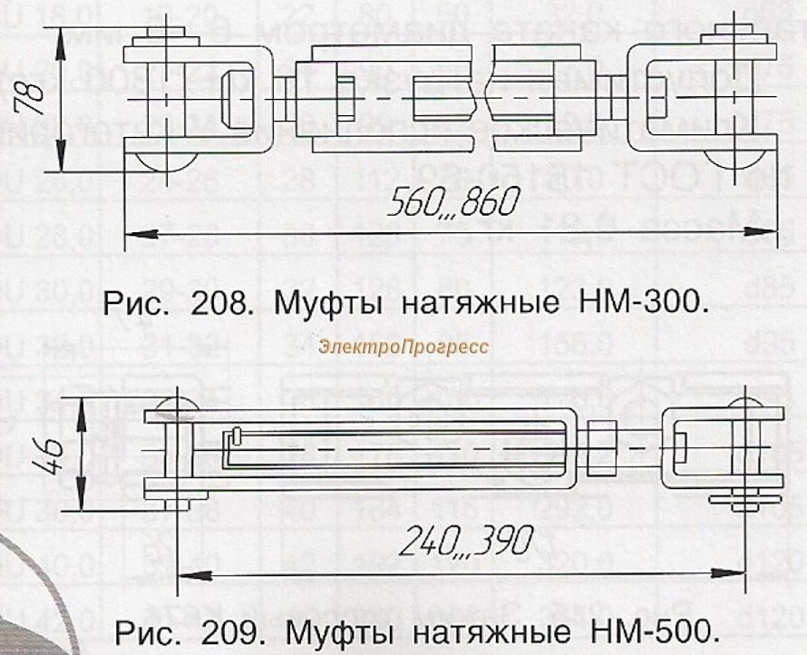 Муфты натяжные НМ-300, НМ-500