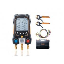 testо 550s комплект 3 в кейсе с шлангами (0564 5503) - умный цифровой манометрический коллектор, смарт-зонды зажимы температуры и набор из трёх заправочных шлангов